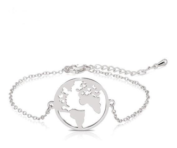 Pulseira Pingente Mapa Mundi Dourada E Prata Mundo