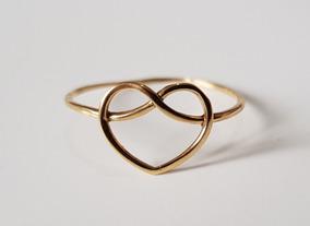 Anel Feminino Formato Coração Vazado Ouro 18k
