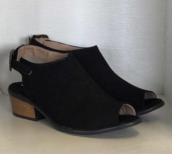 Zapato Estilo Botín Negro Durazno Dama