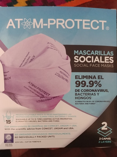 Imagen 1 de 7 de Barbijo Tapaboca Atom Protect Adulto Niño Lavable