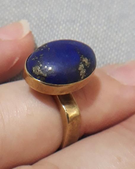 Anel Lápis Lazuli Ouro 18k Aro16 6.8 Gramas Veja 10 Fotos