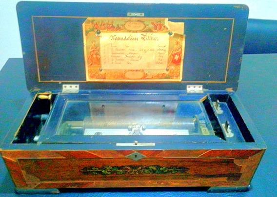 Antigua Caja Musical Suiza Mandoline Zither
