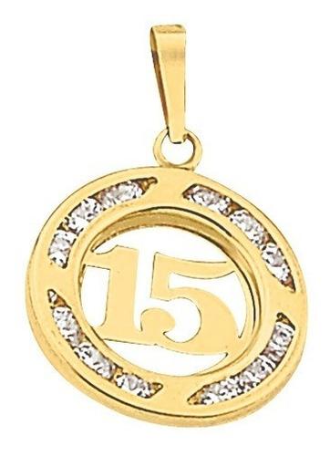 Imagen 1 de 2 de Dije 15 Años Circulo Circonia Oro 10k - 541