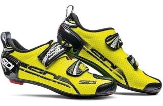 Sapatilha Triathlon Sidi T4 Air Carbon Amarelo Fluo Promoção