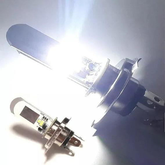 Lampada Farol Led H4 Moto Ou Carro 8000k Super Branca + Nfe