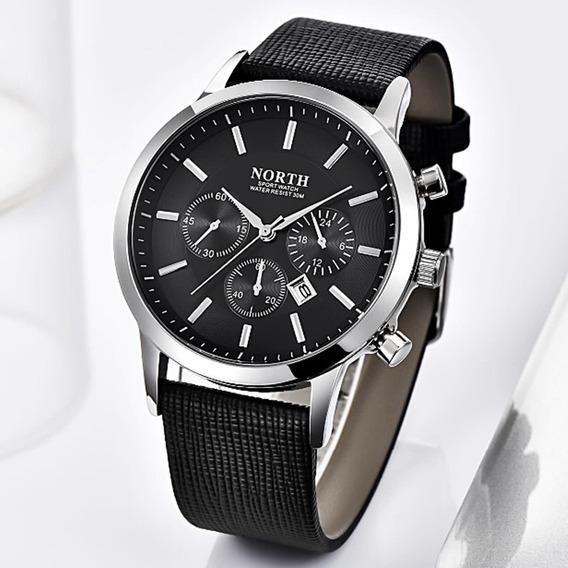 Reloj Hombre Ejecutivo Lujo Negro Cuero Original Importado