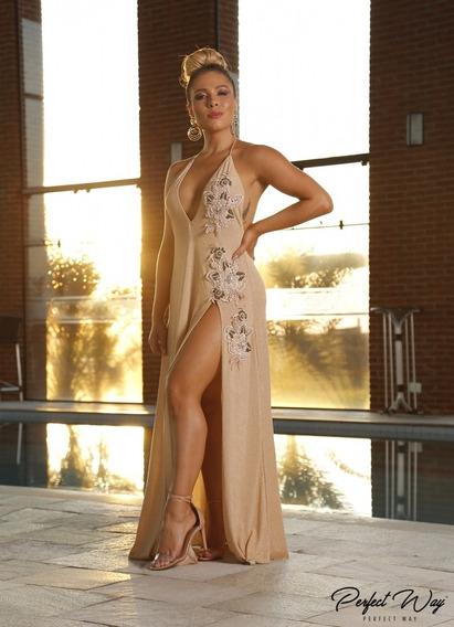 Vestido Longo Guipure Bordado Perfect Way