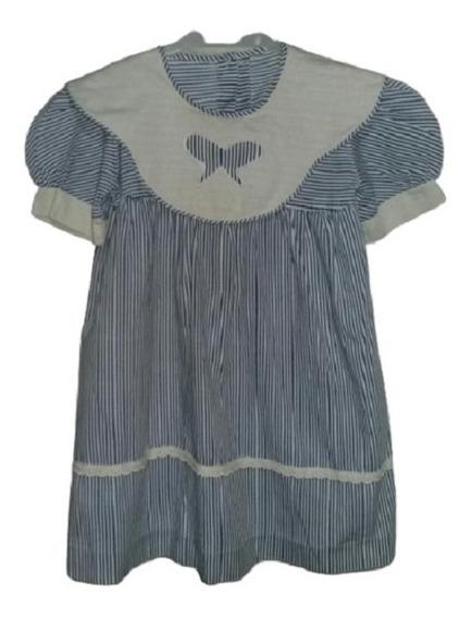 Vestido De Nena Rayado Con Cuello Volado