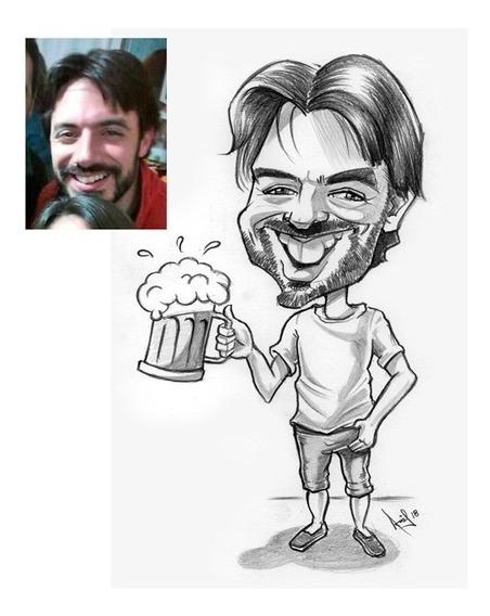 Caricaturas Personalizadas En Bco Y Ngo Regalo Original !