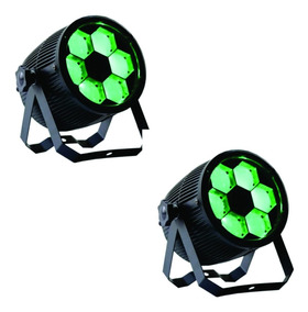02 Projetor Beam Mini Bee Eye 6 Leds De 12w Rgbw Quadriled