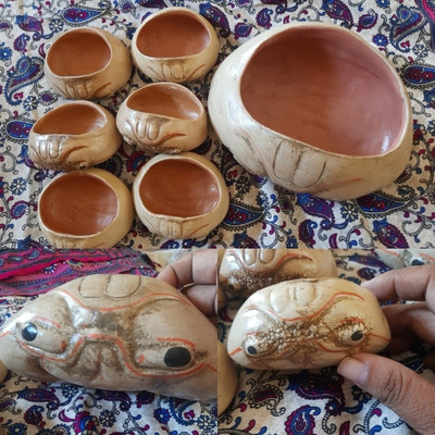 Jogo Casquinha De Caranguejo Em Cerâmica Marajoara