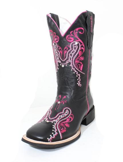 Bota Texana Feminina Cp-boots -preto/rosa