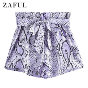 Zaful Snakeskin Imprimir Ruffles Belted Shorts