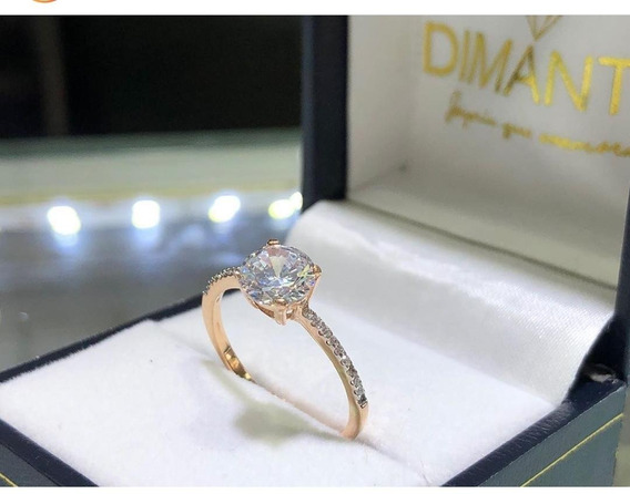 Anillo De Compromiso Oro Amarillo 14k Diamante Cultivado