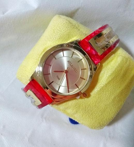 Relógio Feminino Dourado E Rosa Atlantis B658g Original