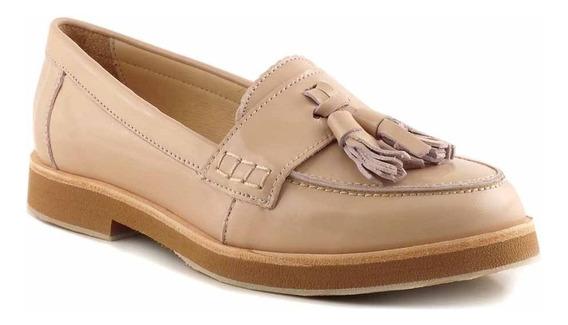 Mocasín Mujer Cuero Briganti Zapato Chatita Goma - Mcmo03607