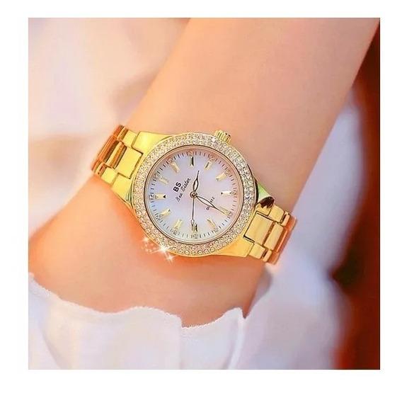Relógio De Pulso Feminino Original Bs Sistem Puro Luxo