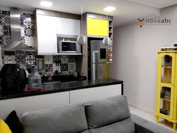 Apartamento À Venda Na Vila Scarpelli, 46m² Com 2 Dormitórios E Suíte Por R$260.000 - Santo André - Ap0987