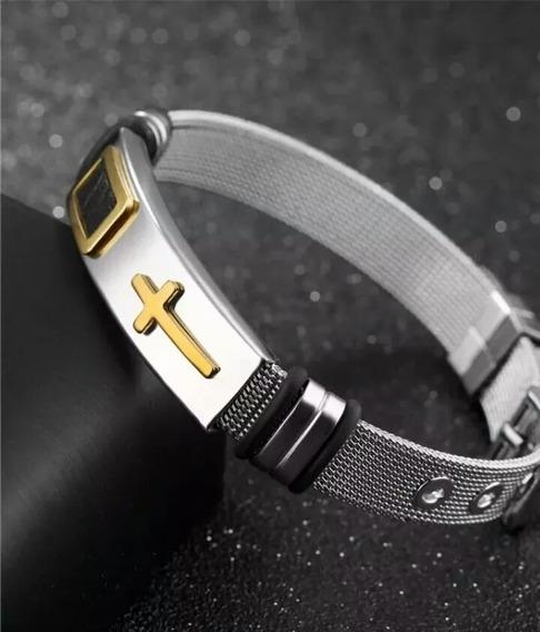 Pulseira Bracelete Aço Inoxidável Banho Ouro 18k