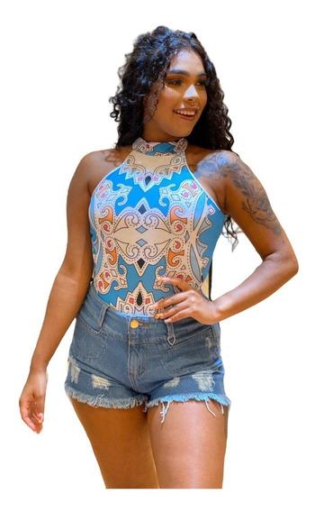 Body Feminino Verão Alcinha Cavado Estampa Exclusiva Collant