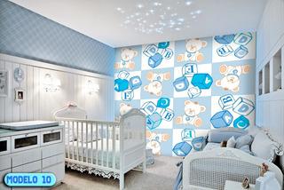 Papel Parede Infantil Menino Azul Muitos 3.00x2.80mt 8.4m²