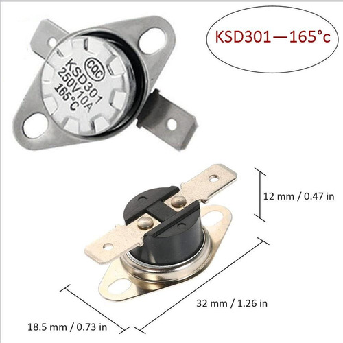 Termostato Térmico 165°c- Ksd301 - 250v - 10a -