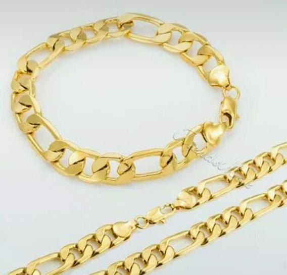Corrente + Pulseira 3x1 Folheado Em 3 Camada De Ouro 18k
