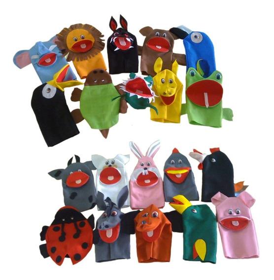 Fantoches Animais Domésticos E Selvagens Kit C/ 20 Fantoches