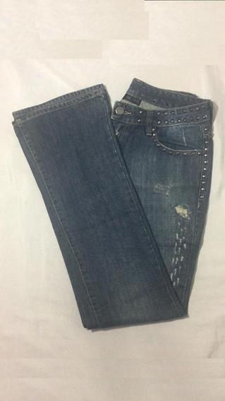 101 Calça John John, Com Detalhes Em Metal, Jeans, Flare