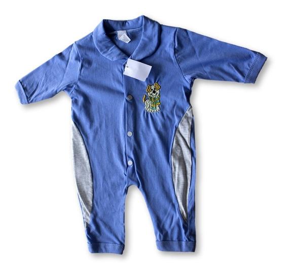 4 Macacão Azul Bebe Recém Nascido Masculino Bordado Oferta