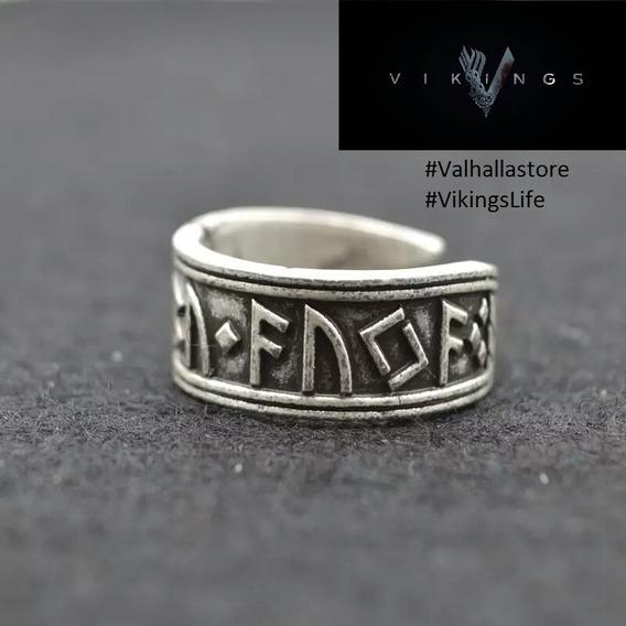 Anel Viking Ajustável - Runas - Ragnar - Nórdico