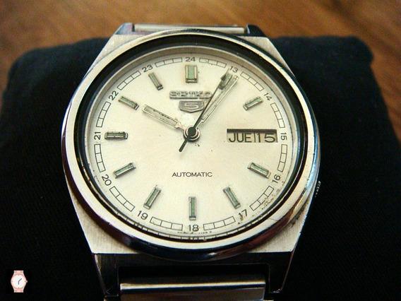 Clásico Reloj Seiko 5 Automatic .... Dial Blanco