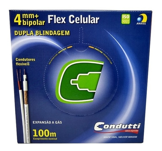 Cabo Coaxial Condutti 4mm Bipolar 80% Dupla Blindagem 100m