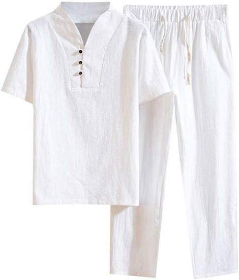 Verano De Lino Puls Tamaño De Los Hombres T-shirt Pantalone