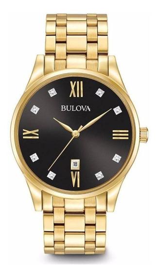 Relógio Bulova Feminino Dourado Com Diamantes Wb26128u