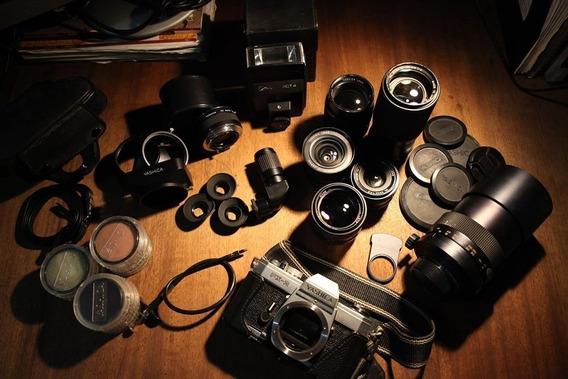 Câmera Analógica Yashica Fx-2 6 Lentes Manuais + Acessórios