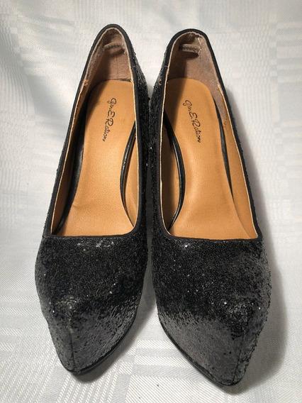 Zapatos De Taco Brillantes Para Fiesta Negro Glitter