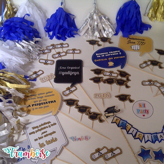 Kit Party Graduación, Habladores,toppers,afiches,etiquetas