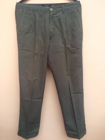Pantalon De Vestir Hombre Kevingstone Verde Pinzado Talle 44