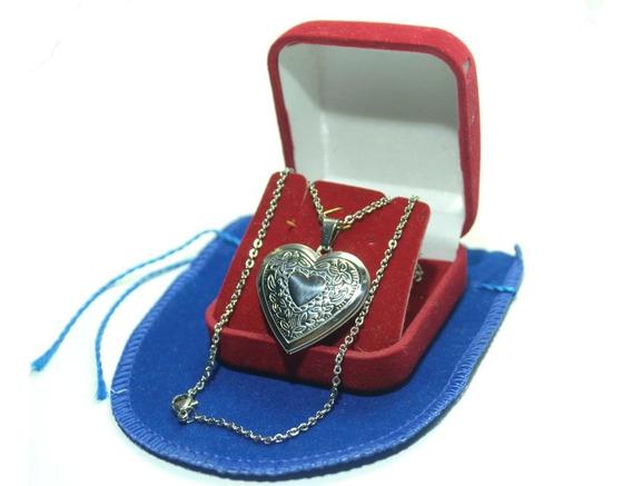 Relicário Aço Inox Coração Para Duas Fotos Promoção!