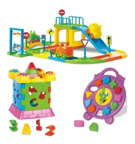 Imagem 1 de 9 de Kit Brinquedo Educativo Infantil Pista Carro Castelo Relógio