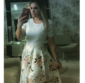 Vestido Boneca Godê Curto Brinde Cinto C/pérolas Manga Curta
