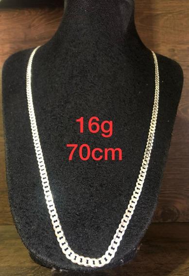 Colar De Prata Italiana 925 Modelo Groumet 16g 70cm