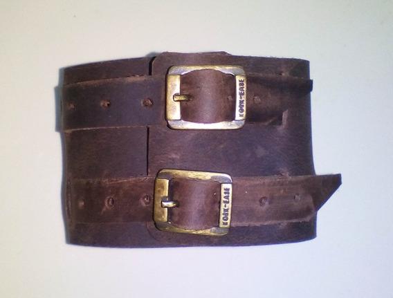 Bracelete Pulseira Em Couro Marrom Envelhecido 2 Fivelas