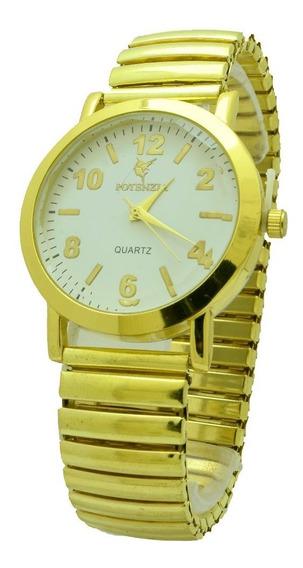 Relógio Feminino Dourado Pulseira Elástica Lindo Barato.