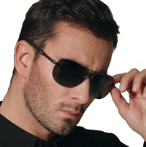 Óculos De Sol Aviador Escuro Masculino Luxo Proteção Uv 400