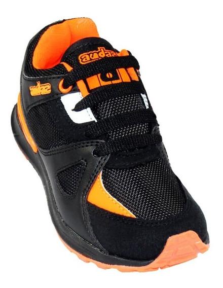 Tenis Casual Coqueta Niño Negro Naranja Textil 131110w