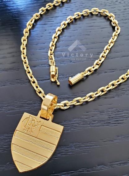 Cordão Cadeado 60cm + Pulseira 5mm + Pingente Flamengo Banhados Ouro 18k Elos Soldados