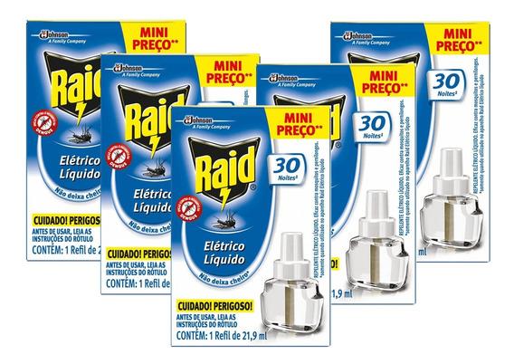 Kit 5 Refil Raid Eletrico Liquido Mata Mosquito 30 Noite