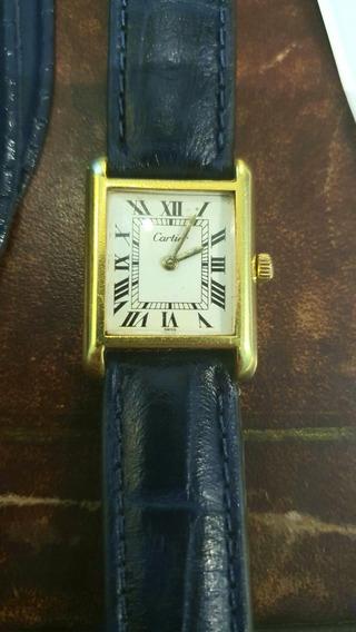 Relógio Cartier Must De Tank Prata Banhado A Ouro